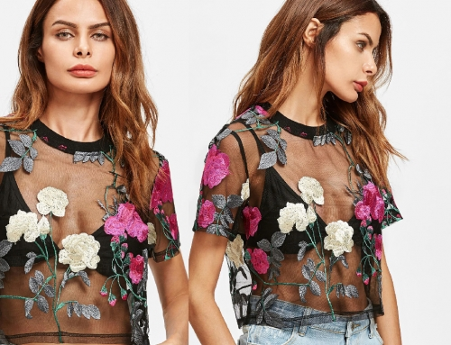 Floral Embroidery Crop Top Design