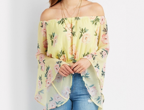Split Trumpet Sleeve Crop Top